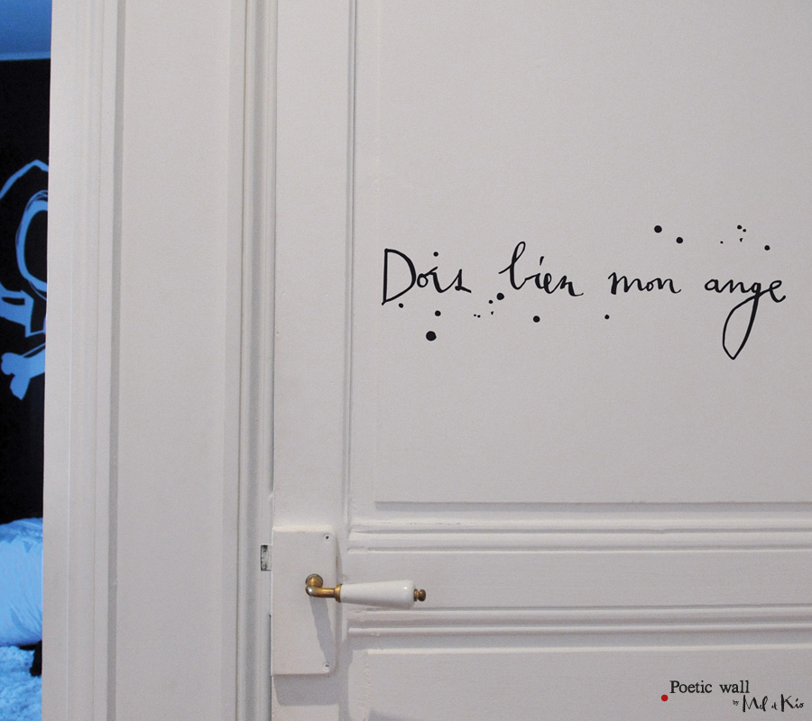 Poetic wall - Stickers texte - Dors bien mon ange