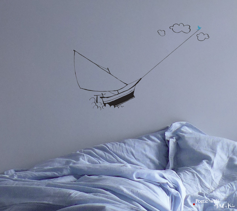Poetic wall - Stickers dessin - Le voilier