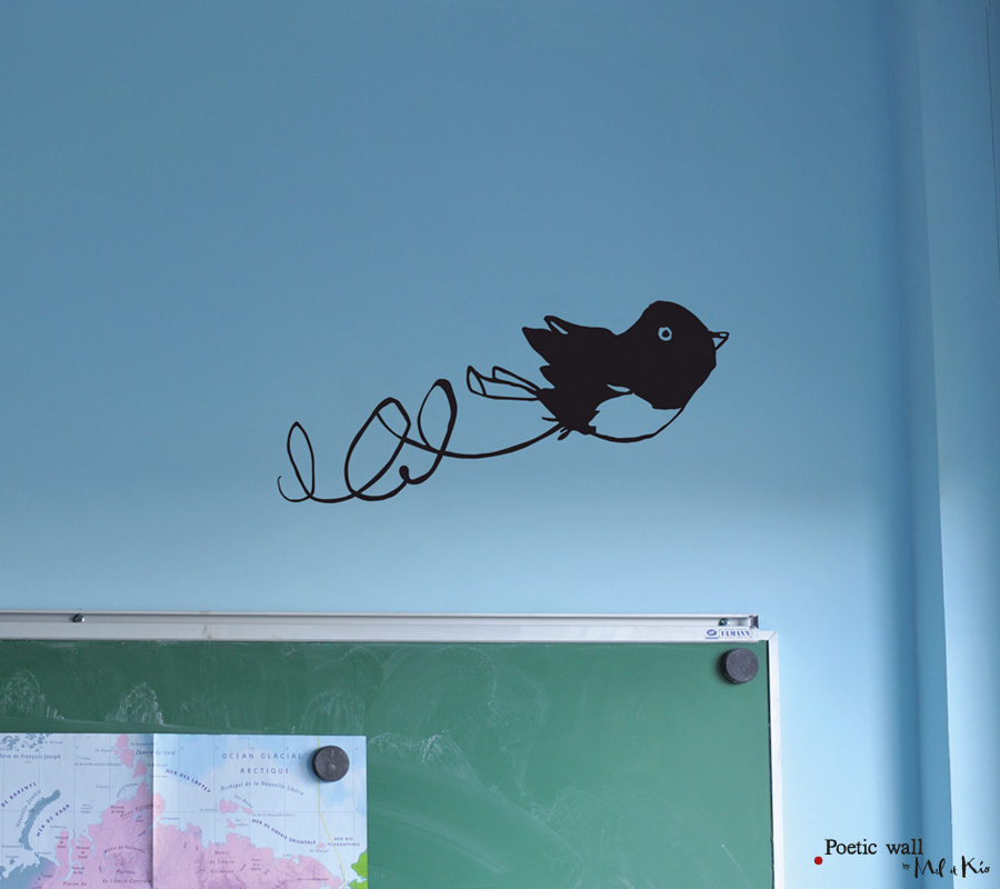 Poetic wall - Stickers dessin - P'tit moineau