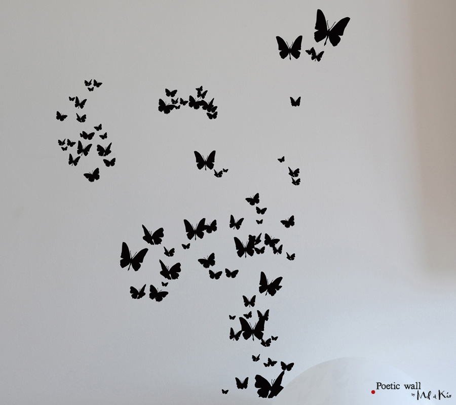 Poetic wall - Stickers dessin - Tous les papillons
