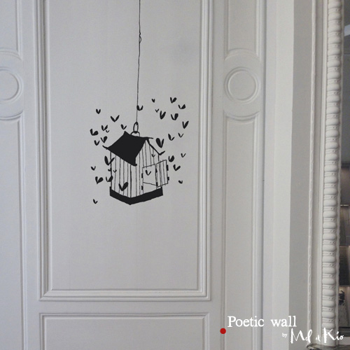 Poetic wall - stickers, stickers - La cage aux coeurs