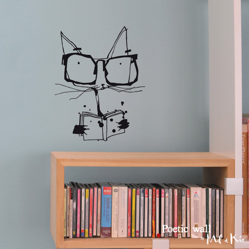 Poetic wall - Sticker - Le chat savant