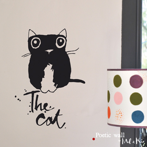 Poetic wall - Stickettes et billets doux - The cat