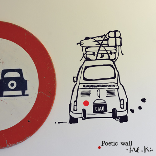Poetic wall - Stickettes et billets doux - Titine