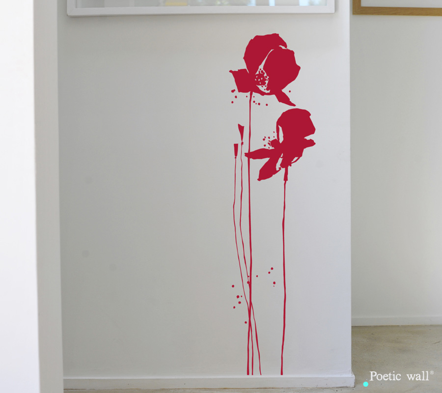 Poetic wall - Stickettes et billets doux - Coquelicot duo