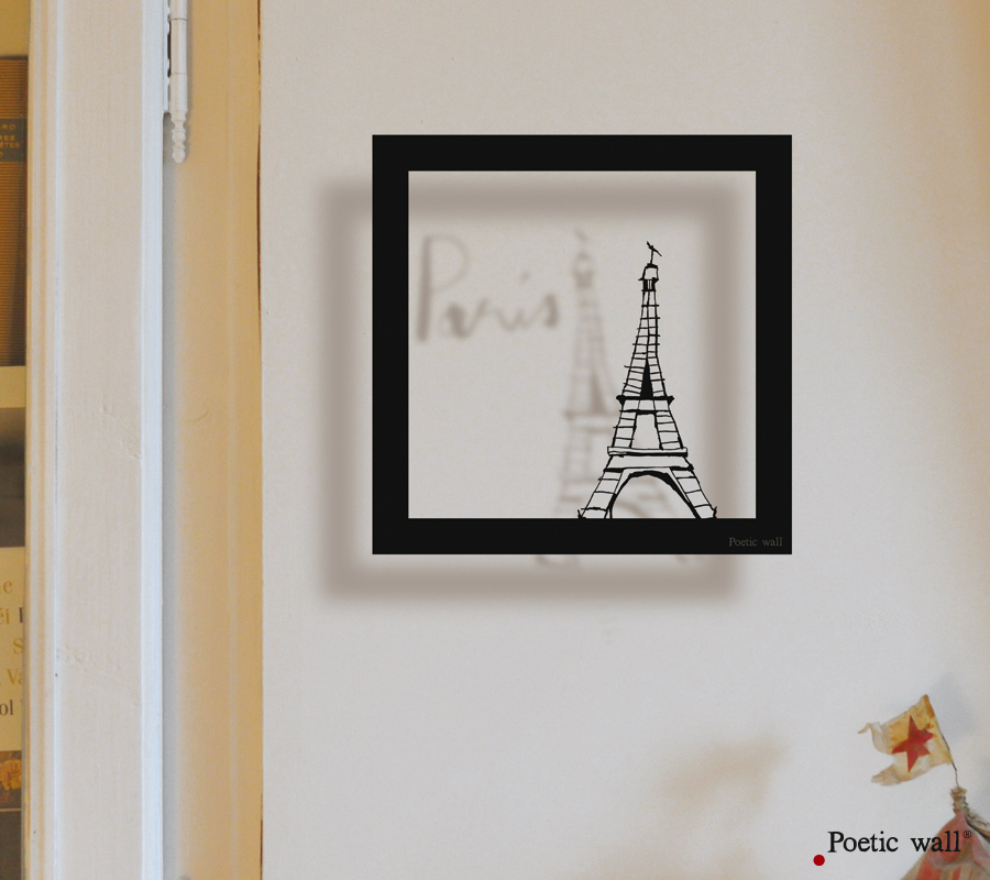 poetic wall sticker cadre ombre mme eiffel poetic wall. Black Bedroom Furniture Sets. Home Design Ideas