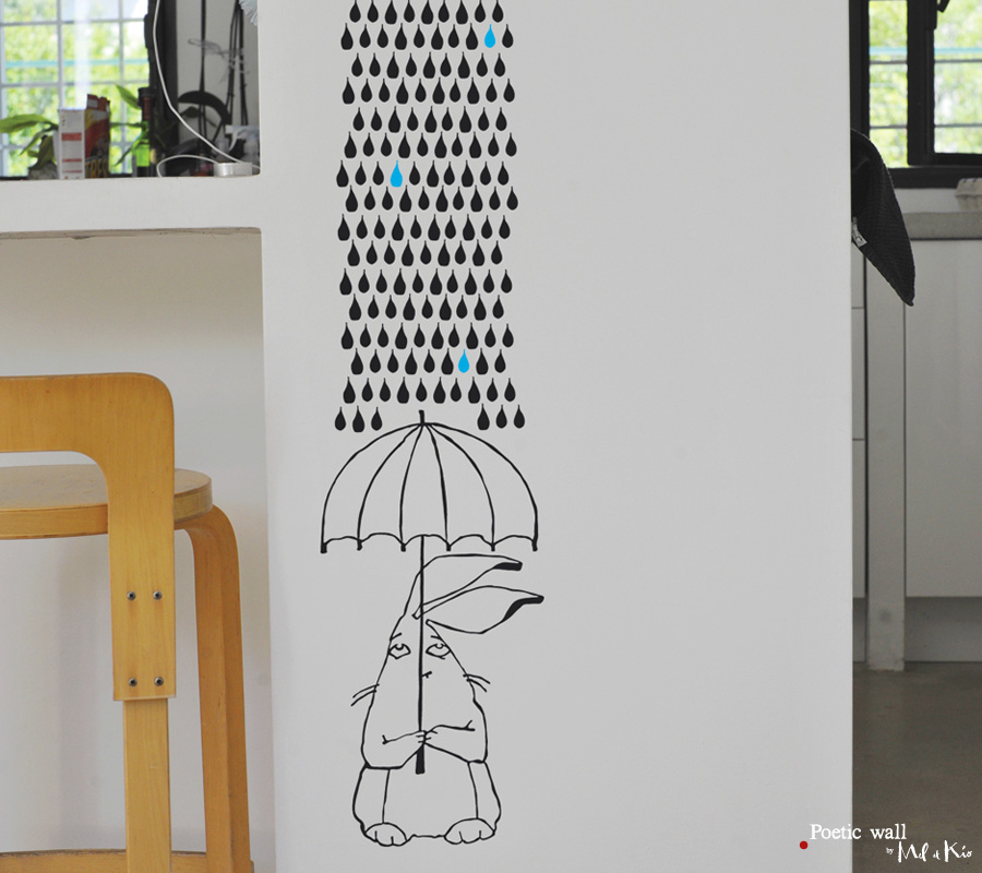 sticker mural lapin parapluie poetic wall