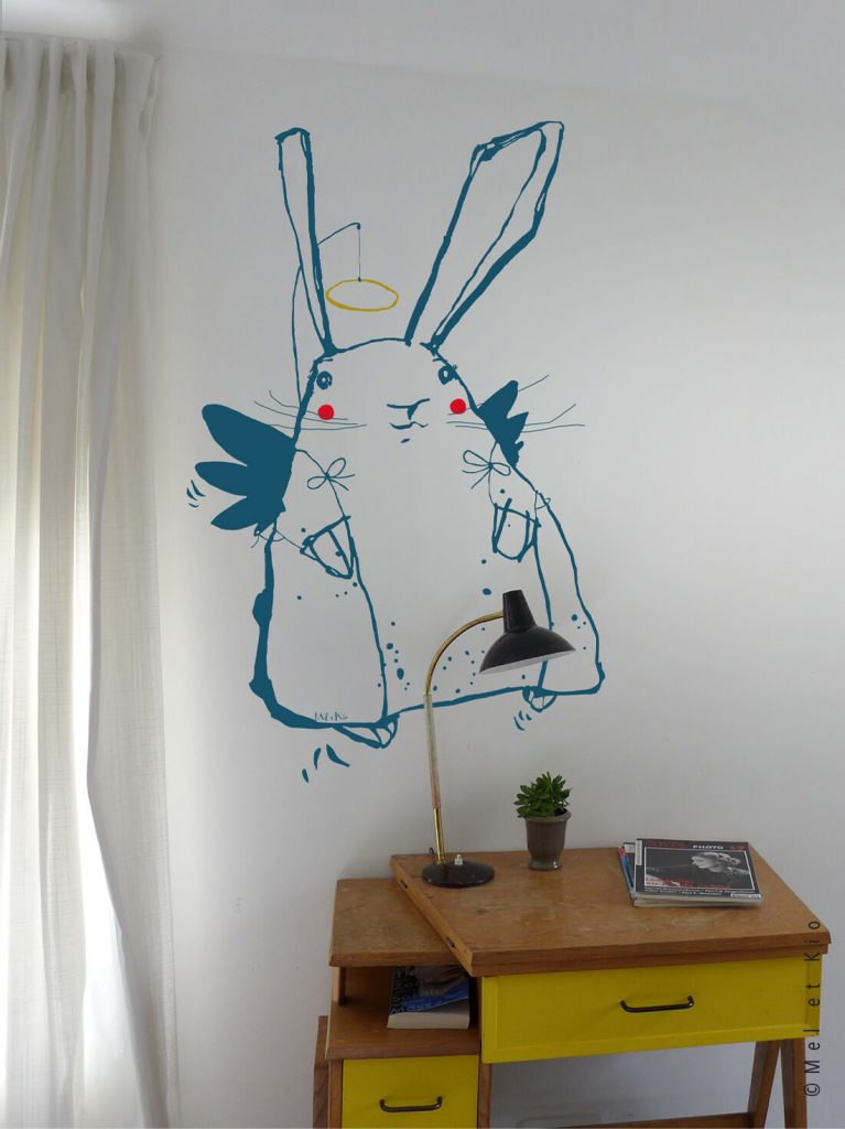 Sticker lapin Angel Pinpin grand décor enfant Mel et Kio
