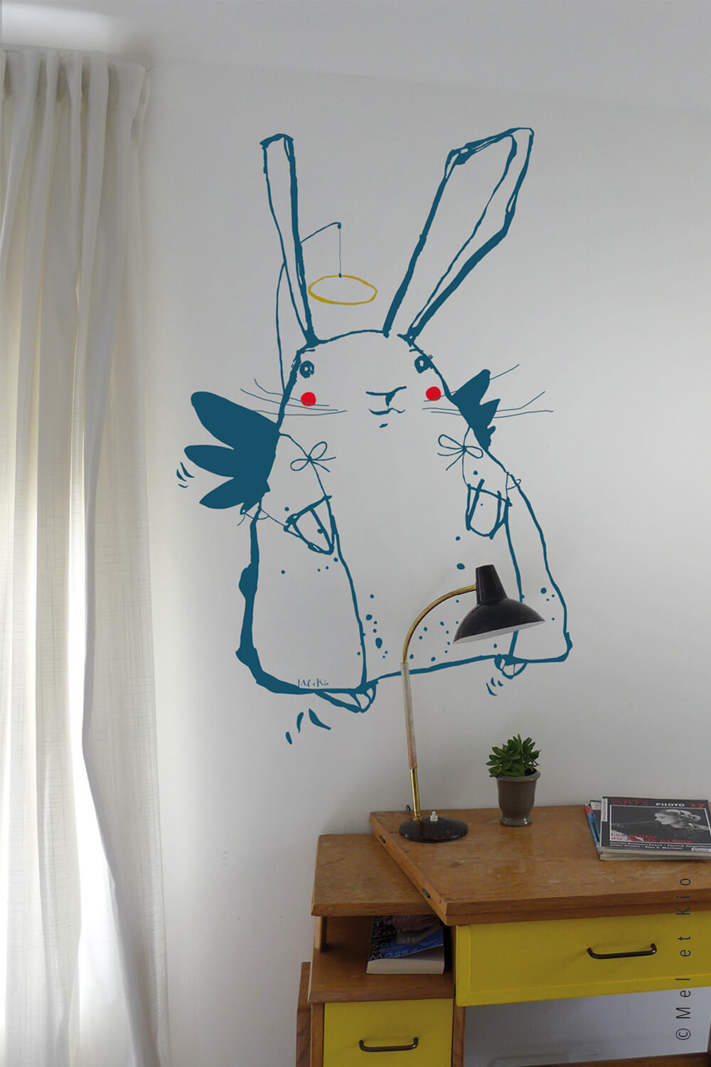Sticker lapin Murmure Poetic Wall Angel Pinpin