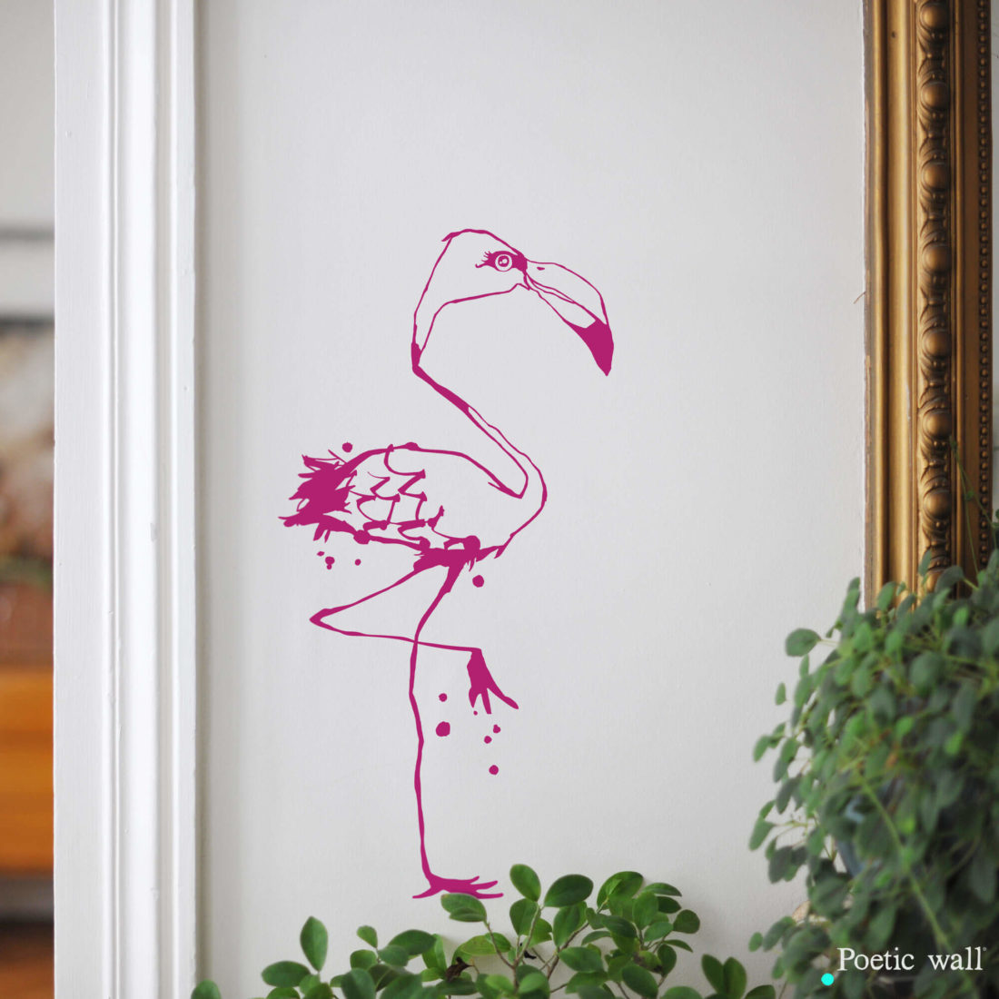 Sticker dessin Le Flamant Rose Poetic Wall