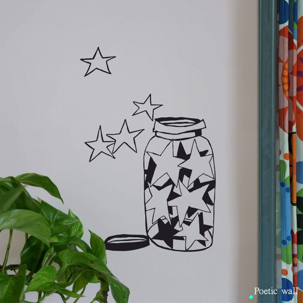 Sticker dessin Bocal d'étoiles Poetic Wall