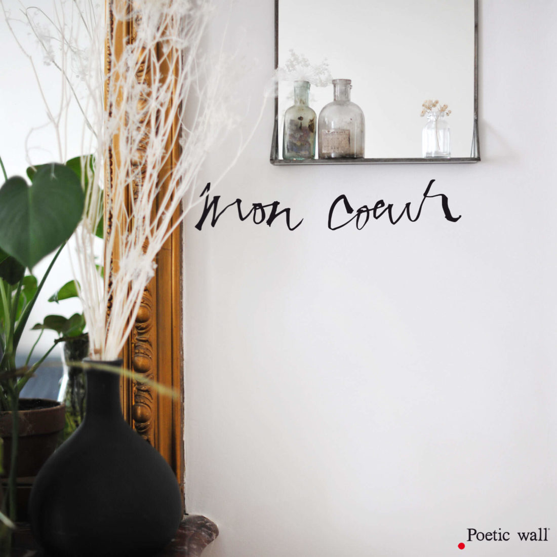 Sticker texte Mon coeur Poetic Wall