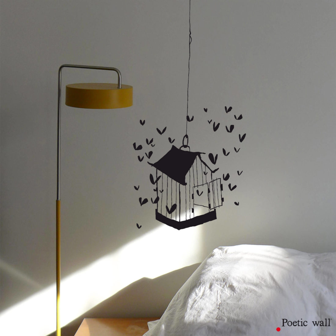 Stickers cage aux coeurs dessin original poetic wall