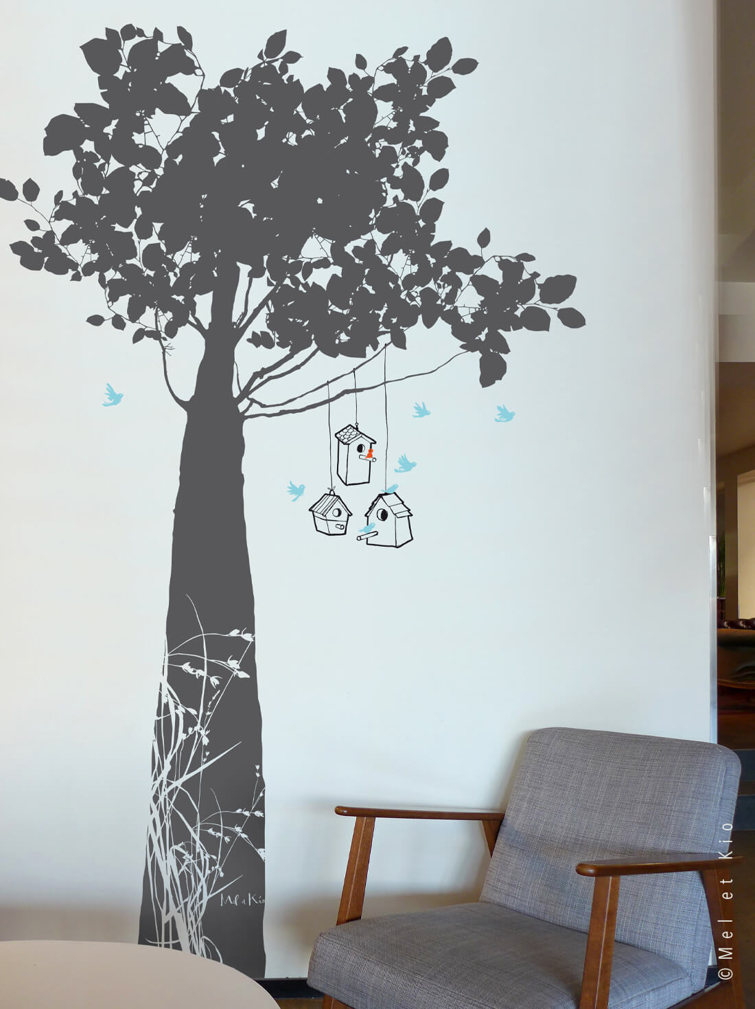Stickers arbre grand format Murmures©Le Refuge anthracite by Poetic Wall
