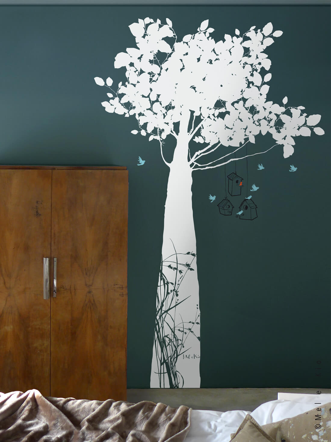 Stickers arbre grand format Murmures©Le Refuge blanc by Poetic Wall