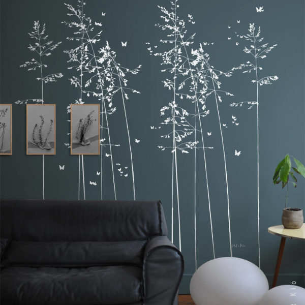 stickers grand format vegetal brindilles Les Délicates L by Poetic Wall en blanc