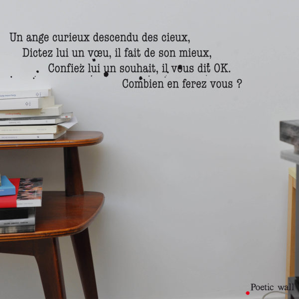 Stickers texte original comptine by Poetic Wall Un ange curieux