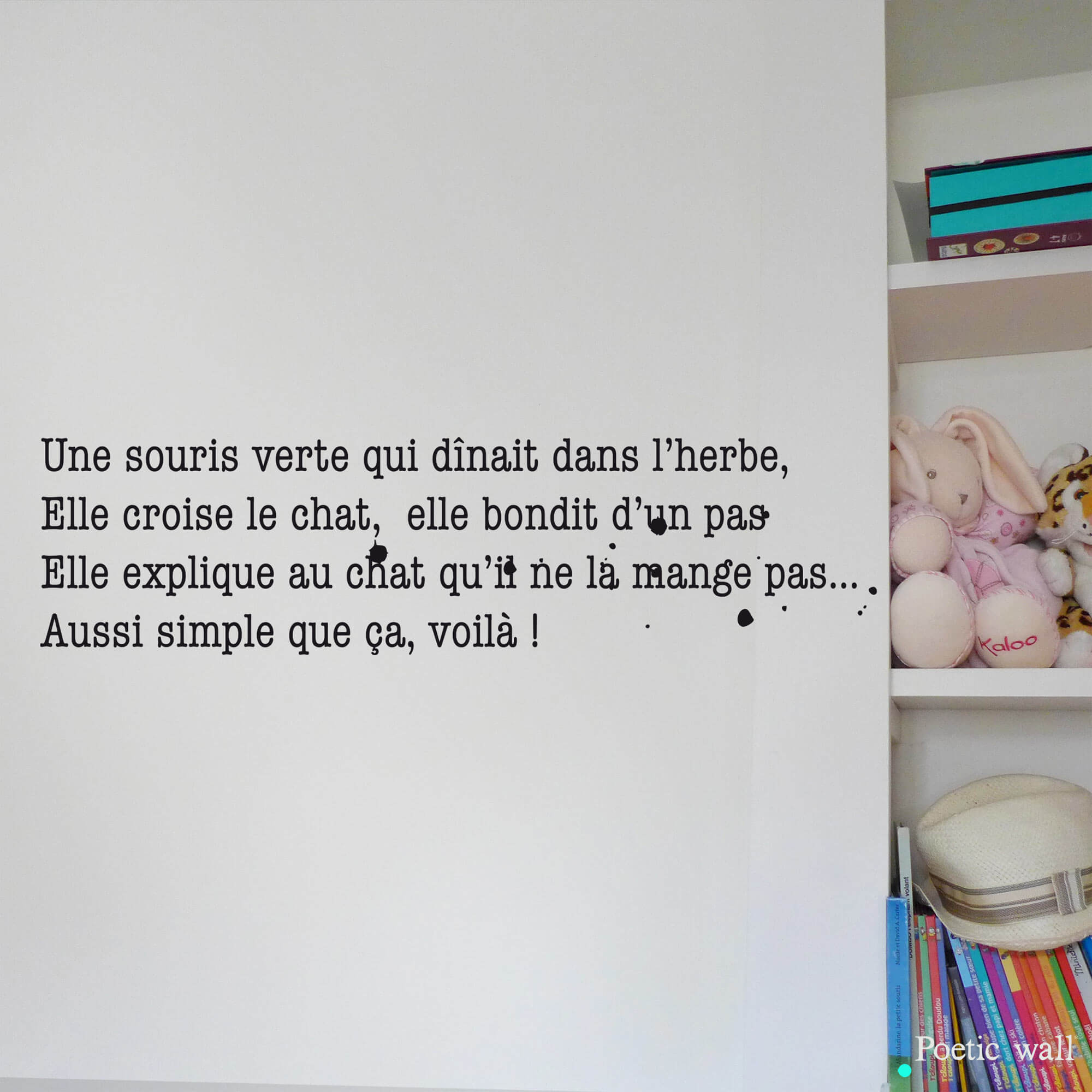 Stickers texte original comptine by Poetic Wall Une souris verte