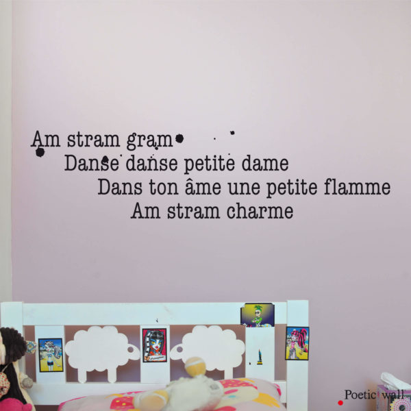Stickers texte original comptine AM STRAM CHARME by Poetic Wall