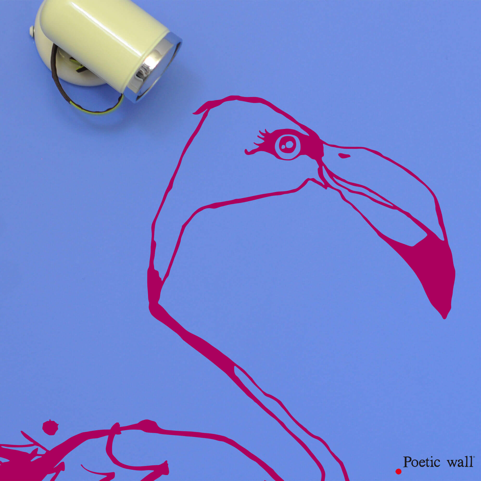 stickers flamant Rose dessin encre de chine Poetic Wall