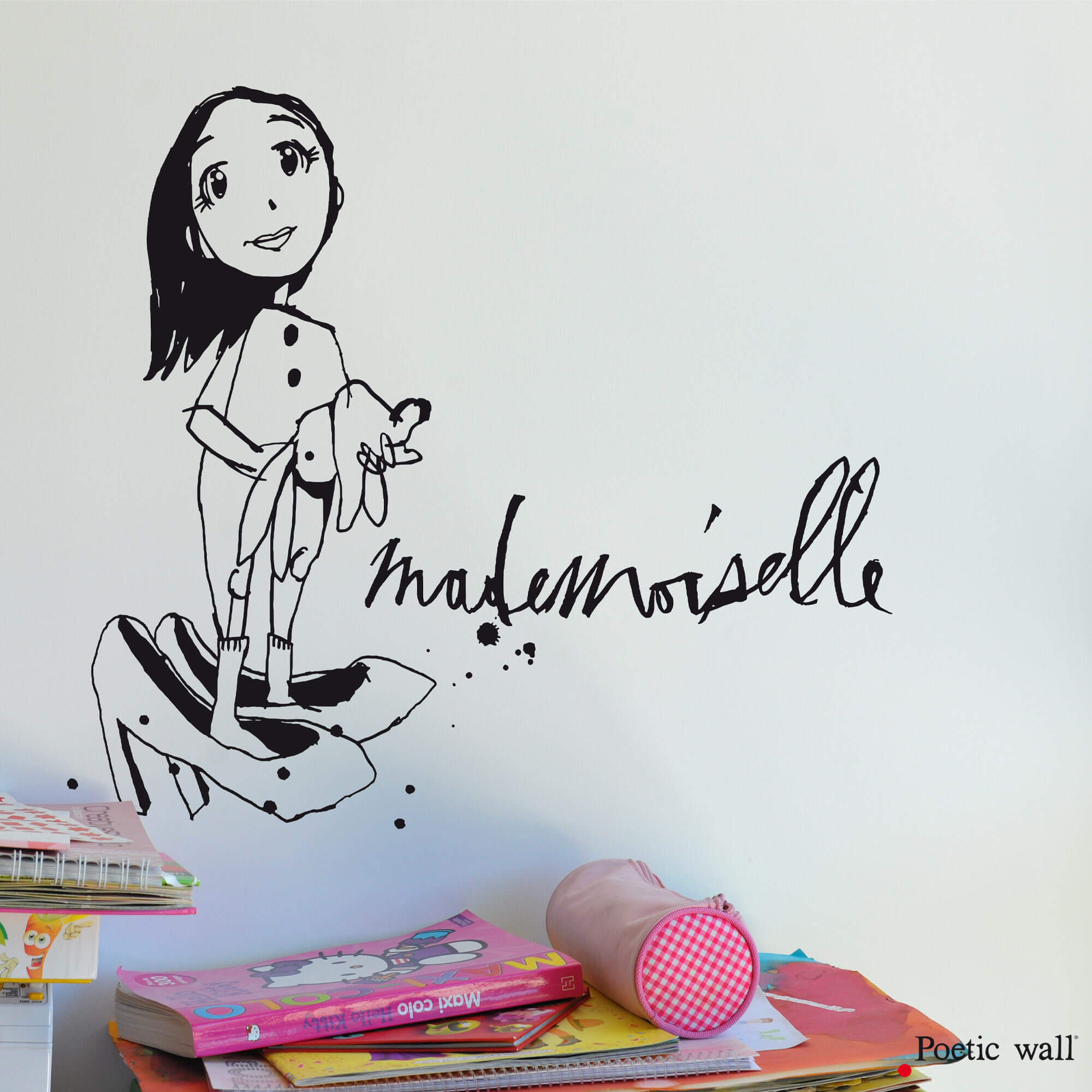 stickers petite fille dessin original mademoiselle by Poetic Wall