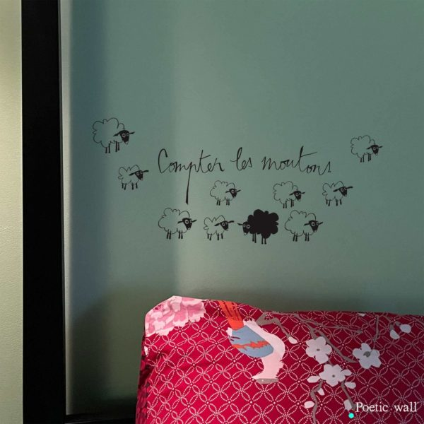 Stickers de moutons illustration murales Compter les mouton by poetic wall